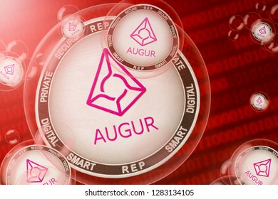 Augur crash; Augur (REP) coins in a bubbles on the binary code background. Close-up. 3d illustration