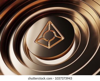 Augur crypto currency symbol in the center of the bronze circles. 3D illustration of Augur coin logo with metallic reflections on the bronze background.
