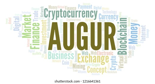 Augur cryptocurrency coin word cloud.