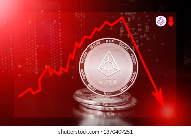 Augur cryptocurrency value price fall drop; augur price down