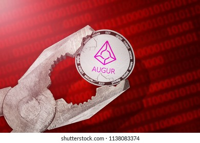 AUGUR (REP) coin is under pressure. Concept of the regulation or control of augur (REP) cryptocurrency; limitation; prohibition