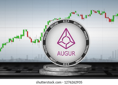 Augur (REP); cryptocurrency coins - Augur on the background of the chart. 3d illustration