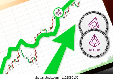 AUGUR (REP) index rating go up on exchange market; cryptocurrency chart on tablet pc (smartphone) with arrow pointing up and coins augur. Place for text (prices); top view
