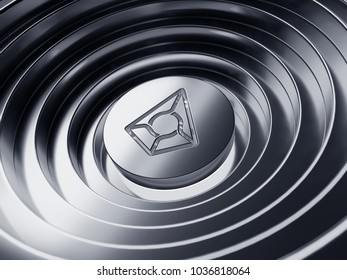 Augur symbol in the center of the silver circles. 3D illustration of Augur coin logo with metallic reflections on the Silver circles background.