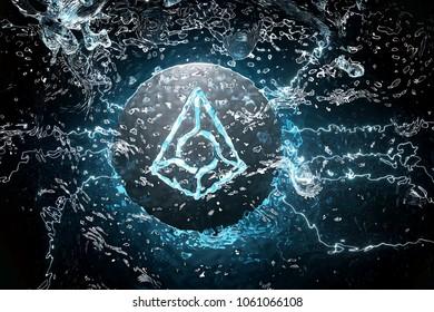 Augur Symbol Underwater in the Blue Light. 3D Illustration of Silver Augur Logo Under Water.