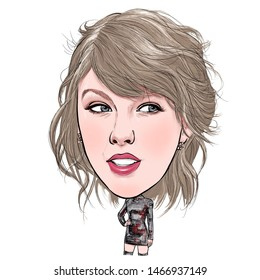 August 1, 2019 Caricature of Taylor Alison Swift, Taylor Swift is an American singer-songwriter Portrait Drawing Illustration.