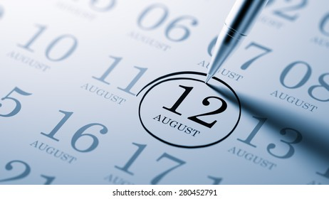August 12 written on a calendar to remind you an important appointment.