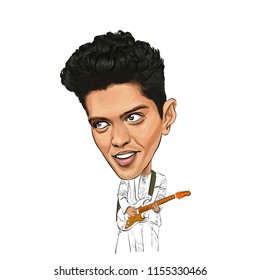 August 13,  2018 Caricature of singer composer Bruno Mars , Peter Gene Hernandez Portrait Drawing Illustration.