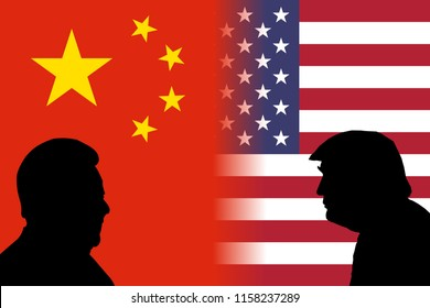 AUGUST 17, 2018- Flags of China and the United States side by side with the silhouettes of China's President Xi Jinping and US President Donald Trump.