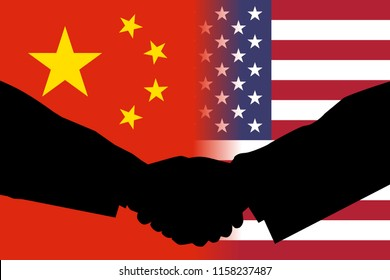 AUGUST 17, 2018- Flags of China and the United States side by side with the silhouettes of two men shaking their hands signifying agreement to avoid conflict.