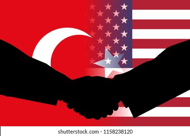 AUGUST 17, 2018- Flags of Turkey and the United States side by side with the silhouettes of two men shaking hands signifying agreement and peace between the two parties.