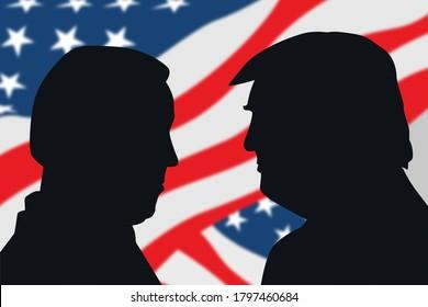 August 17, 2020 - Character Illustration of Joe Biden facing Donald Trump. Illustrating the 2020 US presidential election