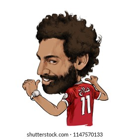 August 2, 2018 Caricature of Mohamed Salah Ghaly an professional footballer