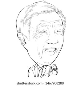 August 2, 2019 Caricature of Ren Zhengfei CEO Huawei businessman Millionaire Portrait Drawing Illustration.