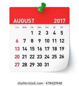 August 2017 - Calendar. Isolated on White Background. 3D Illustration