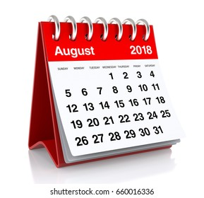 August 2018 Calendar. Isolated on White Background. 3D Illustration