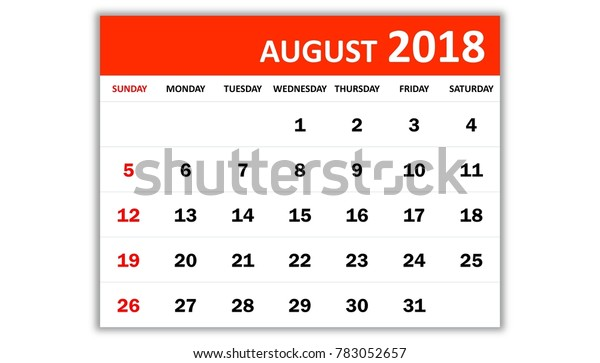 August 2018 Monthly Calendar 2018 Year Stock Illustration