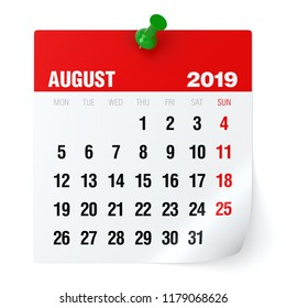 August 2019 - Calendar. Isolated on White Background. 3D Illustration