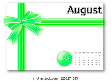 August 2019 - Calendar series with gift ribbon design