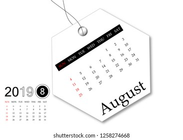 August 2019 - Calendar series for tag design