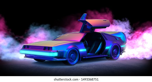 August. 28, 2019: Delorean car illustration with blue and pink smoke and black background . - 3d Render