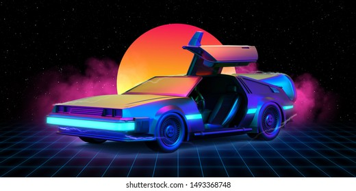 August. 28, 2019: Illustration of delorean car in the retrowave background with grid on the floor and sun in the background. - 3d Render