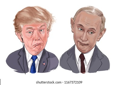 August 29, 2018 Caricature of U.S.A. President Donald Trump and Russian President  Vladimir Putin an Portrait Drawing Illustration.