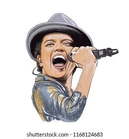 August 30, 2018 Caricature of singer composer Bruno Mars , Peter Gene Hernandez Portrait Drawing Illustration.
