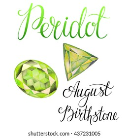 August birthstone Peridot isolated on white background. Close up illustration of gems drawn by hand with colored pencils. Realistic faceted stones.
