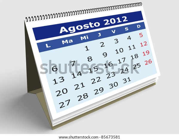 August month in Spanish. 2012 Calendar. 3d render