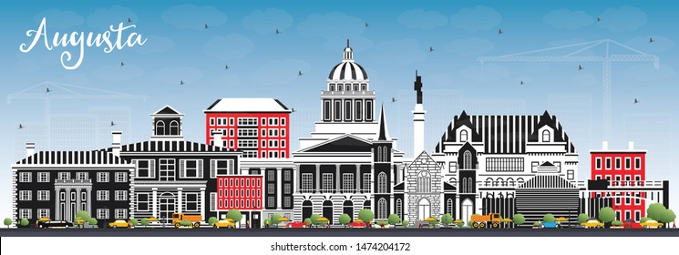 Augusta Maine City Skyline with Color Buildings and Blue Sky. Business Travel and Tourism Concept with Historic Architecture. Augusta USA Cityscape with Landmarks.