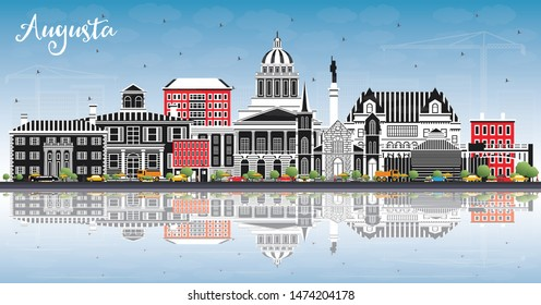 Augusta Maine City Skyline with Color Buildings, Blue Sky and Reflections. Business Travel and Tourism Concept with Historic Architecture. Augusta USA Cityscape with Landmarks.