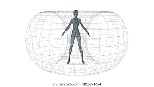 aura of human biofield realistic illustration of 3d render