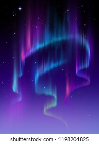 Aurora Borealis abstract background, northern lights in polar night sky illustration, natural phenomenon, space miracle, wonder, neon glowing lines, ultraviolet spectrum