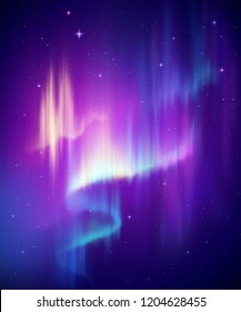 Aurora Borealis abstract background, northern lights in polar night sky illustration, natural phenomenon, cosmic miracle, wonder, neon glowing lines, ultraviolet spectrum