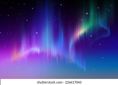 Aurora Borealis abstract background, northern lights in polar sky illustration, natural phenomenon