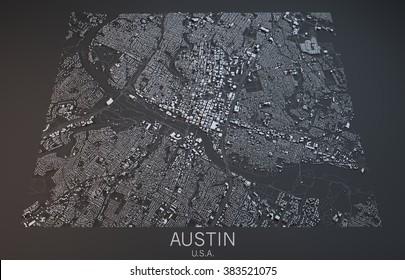 Austin map, satellite view, Texas, Usa