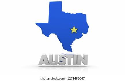 Austin Texas TX City State Map 3d Illustration