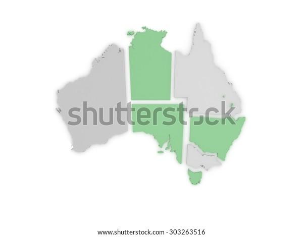Free 3d Map Of Australia.Australia 3d Map Stock Illustration 303263516