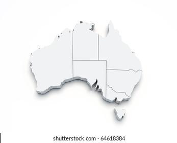 Australia 3D map on white isolated