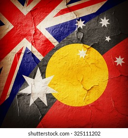 Australia Aboriginal  flags and  wall background
