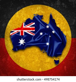 Australia Aboriginal flags,map of silk  and wall background-3D illustration