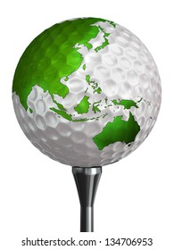 australia and asia green continent on golf ball and tee isolated on white backgound. clipping path included