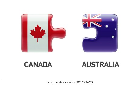 Australia Canada High Resolution Puzzle Concept