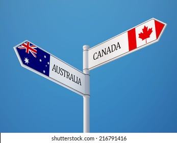 Australia Canada High Resolution Sign Flags Concept