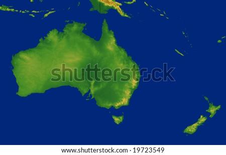 Australia Continent Map Terrain Stock Illustration 19723549 ...