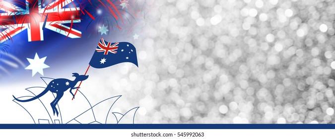 Australia day design of kangaroo and flag with firework