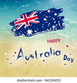 Australia day with grange flag on blur background. Sea and ocean in raster. Simple holiday text for australia day
