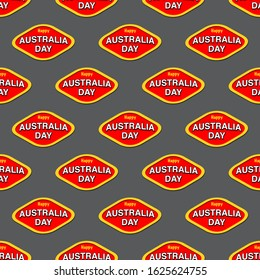 Australia Day in shape of vegemite logo on grey background in a seamless repeat pattern