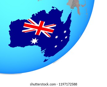 Australia with embedded national flag on blue political globe. 3D illustration.